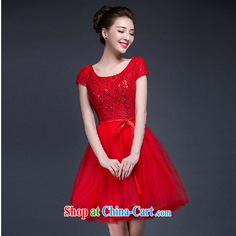 Summer 2015 new wedding dresses Korean lace, a field shoulder graphics thin bride toast wedding dress red XXXL