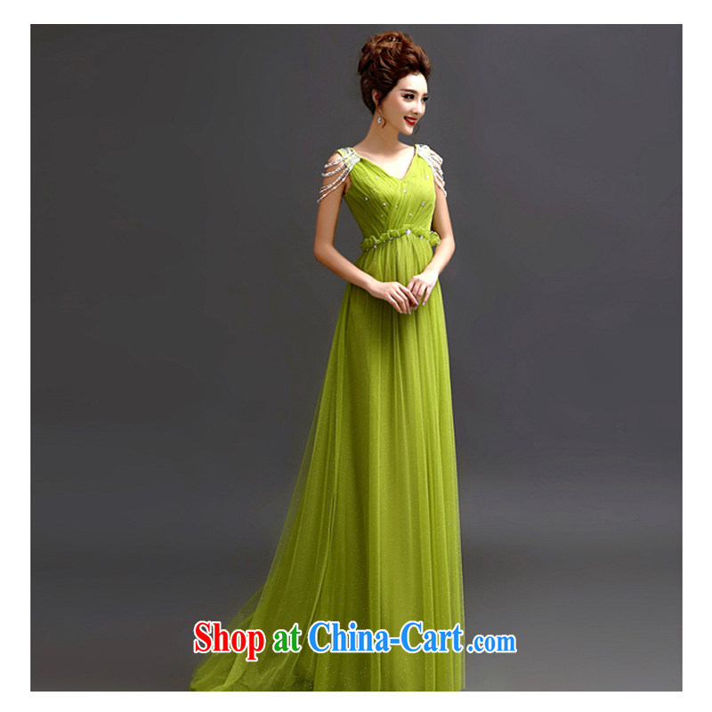 White first about the betrothal service green lace Deep v collar marriages served toast wedding long dinner banquet Dinner Evening Dress green L