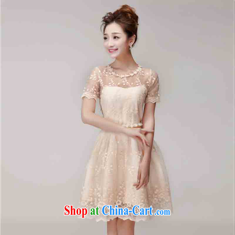 2015 summer new sweet lace skirt hook flower Openwork Web yarn staple-joo of Yuan style Princess dress beautiful dress bridesmaid clothing Su 0283 apricot L
