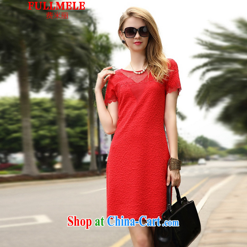 Fees M Lai 2015 summer new female French lace sexy jacquard embroidery dresses small dress red L