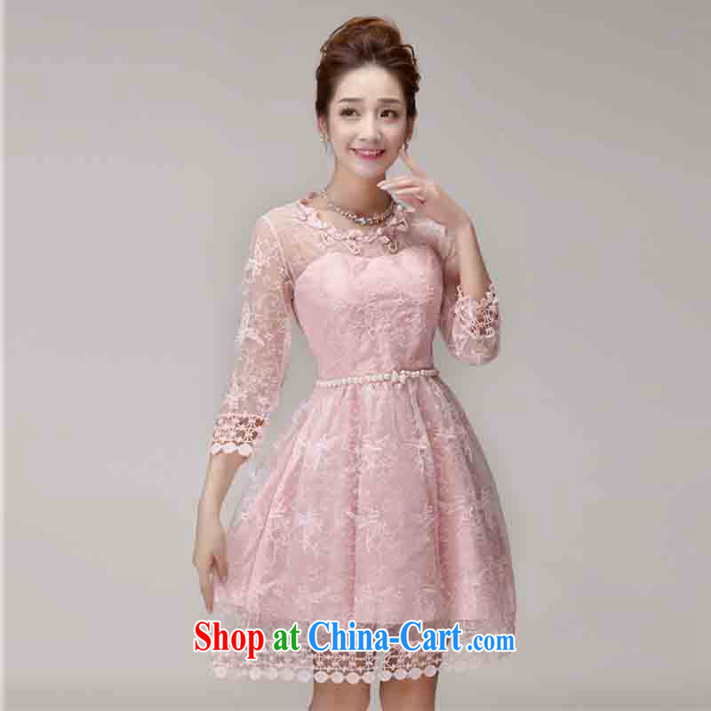 2015 summer new sweet lace dress nails Pearl Web yarn Princess skirt of yuan style Princess dress beautiful dress bridesmaid clothing Su 0285 pink L