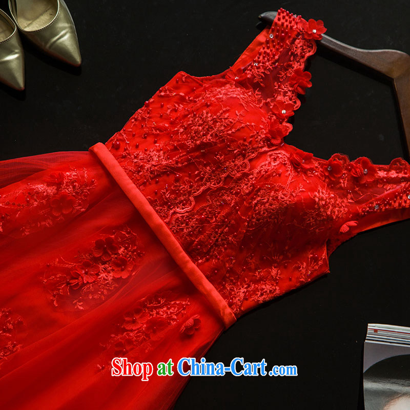 The wedding dress 2015 wedding long evening dress bridal lace shoulders serving toast wedding dress bridesmaid summer clothing Red. 7 Day Shipping does not return do not switch, and love, and that, on-line shopping