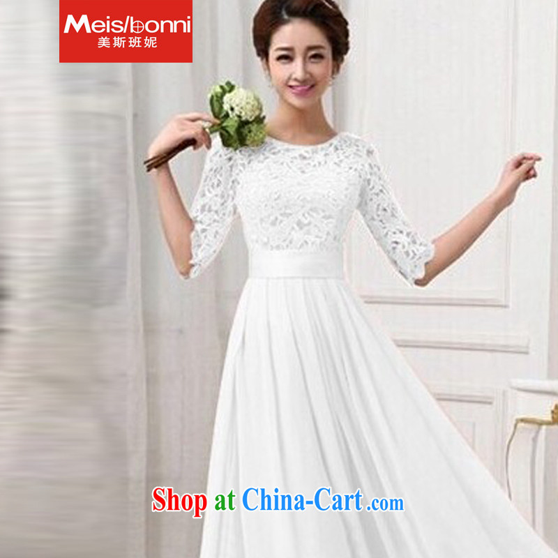 The class 2015 Anne lace lace dress long skirt Evening Dress 5 CLY white XL