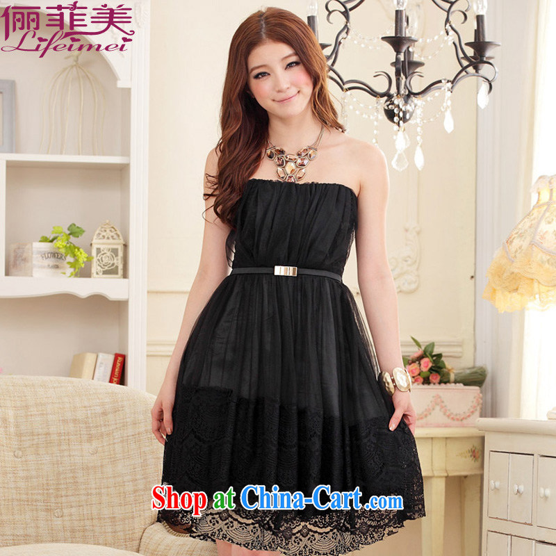 The e-mail package, Japan, and South Korea wiped his chest bare shoulders Web yarn Aura with belt skirt Princess annual graduation show her sister larger Evening Dress small dress dress black XXXL