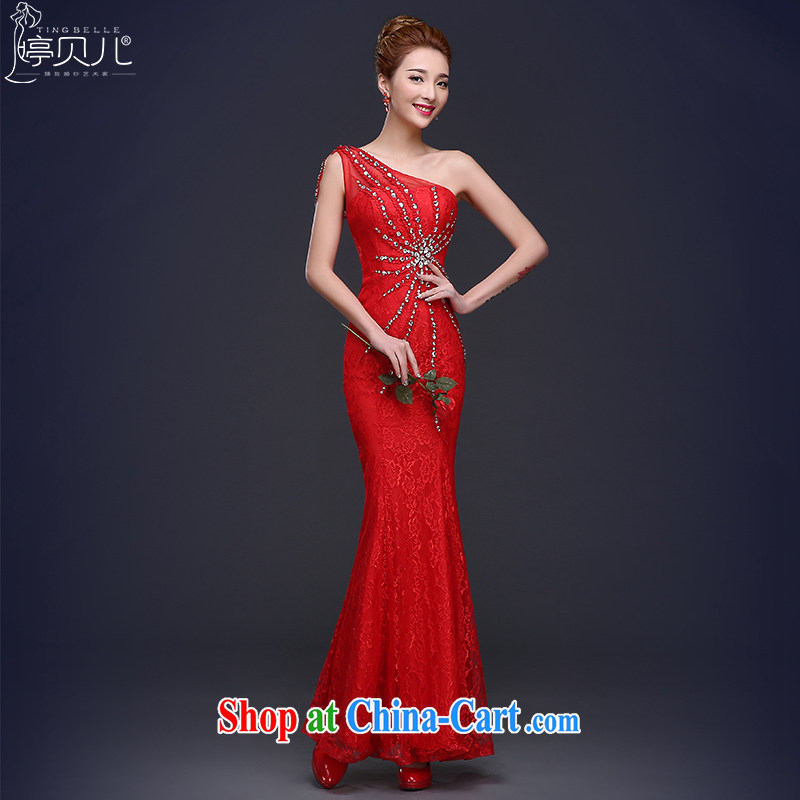 Ting Beverly banquet dress 2015 new summer long crowsfoot bridal toast serving the shoulder Ms. red wedding dress female Red XL