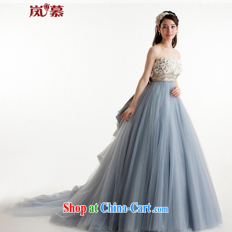 Sponsors The 2015 new original Korean-style wrapped chest shaggy dress blue-gray bridal dresses serving toast ceremony performances serving as the blue-gray custom size