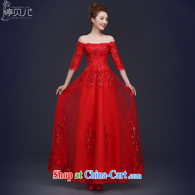 Ting Beverly 2015 new bride toast served a summer field shoulder bridal wedding dress red long banquet dress girls spring red XL
