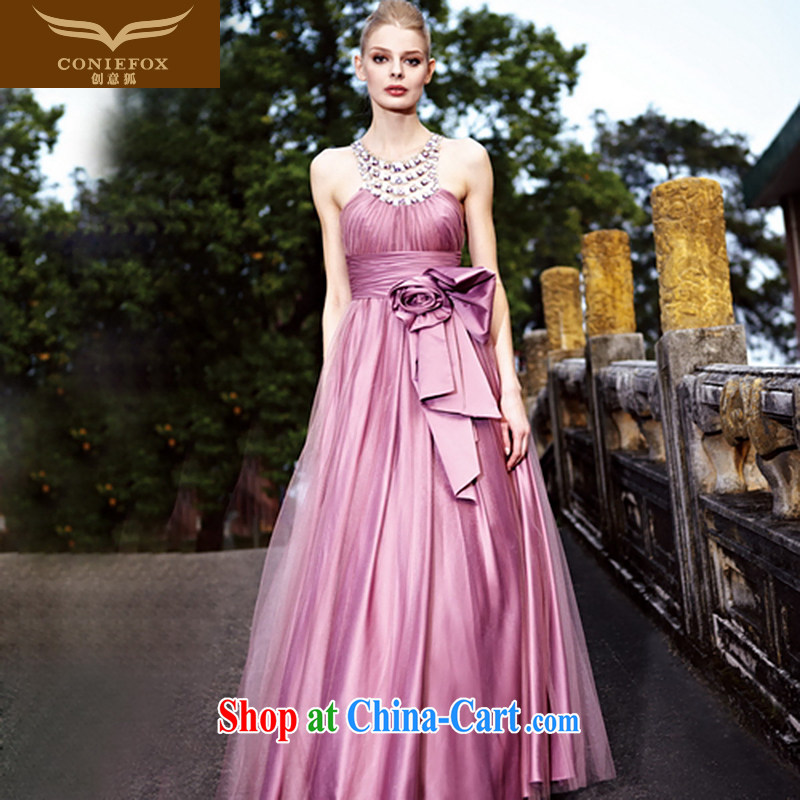 Creative Fox Evening Dress purple elegant bridal wedding dress banquet evening dress uniform toast long cultivating dress dresses show service 80,191 purple M