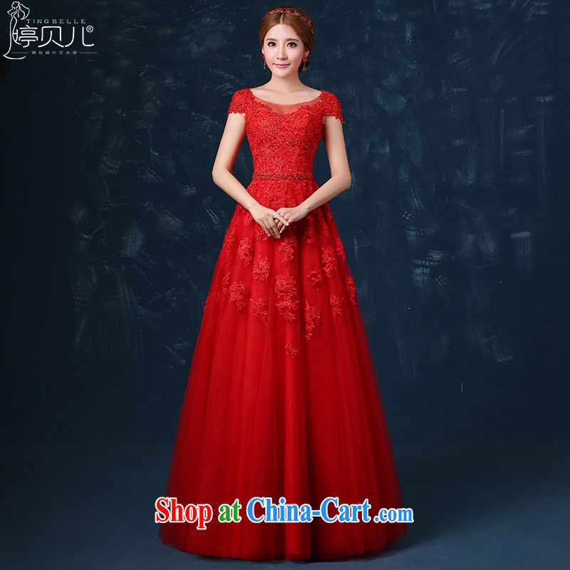 Ting Beverly 2015 new bride toast serving summer long dual-shoulder red wedding dress and lace banquet dress beauty red XL