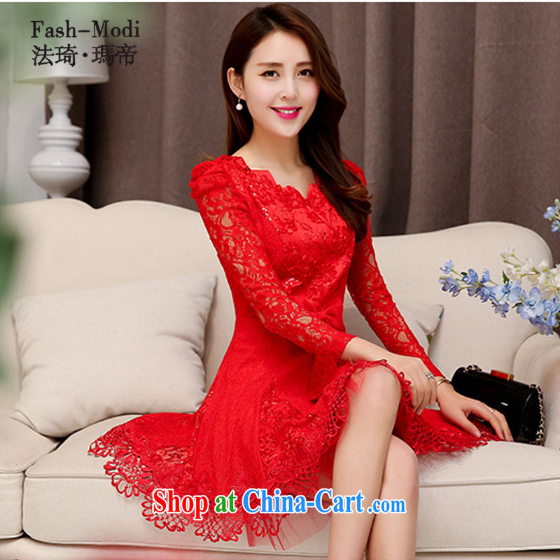 The angel Princess Royal 2015 new bride's back-door dress uniform toast bridesmaid clothing Evening Dress lace, long dress red dresses red XL .
