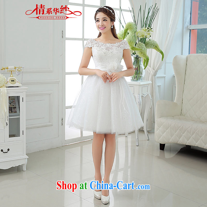 The china yarn 2015 new summer the Field shoulder lace white shaggy short skirts, bridal wedding dresses small white. size does not accept return