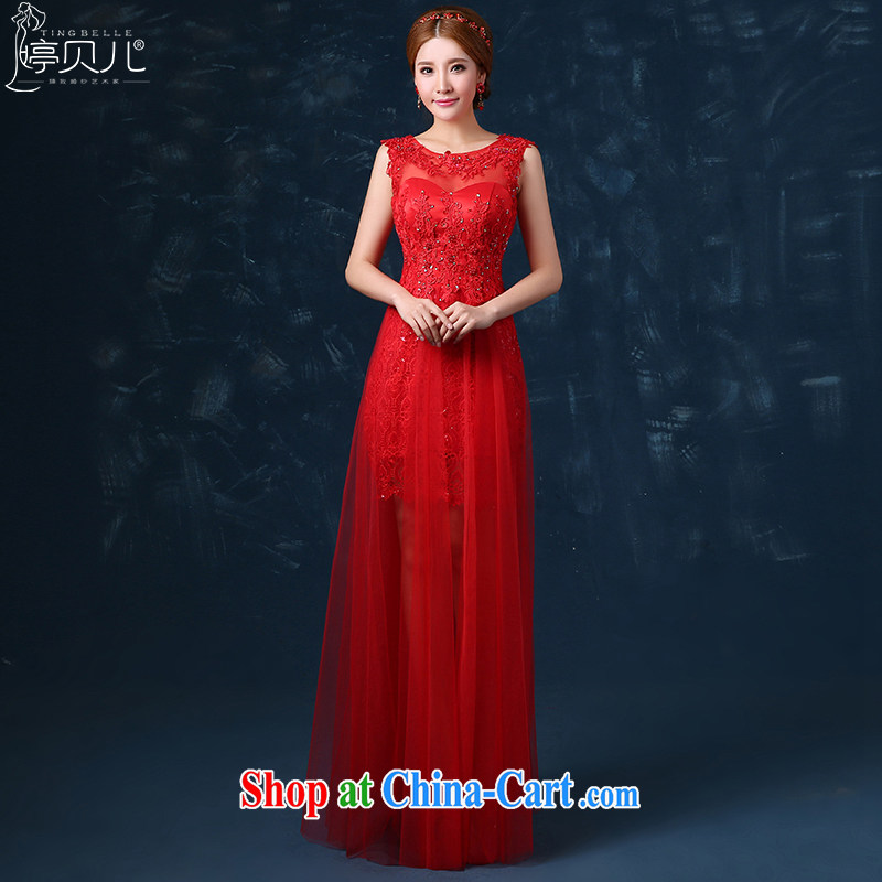 Ting Beverly 2015 new summer bridal toast serving long dual-shoulder wedding dress, red dress banquet beauty red Ms. XL