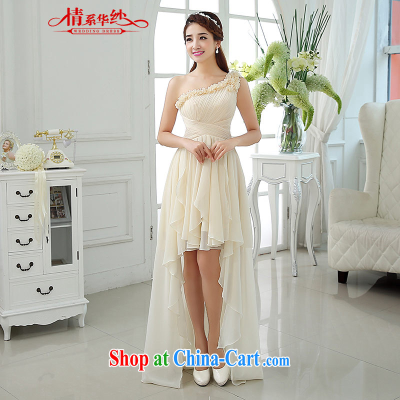 The china yarn 2015 new Summer Snow woven single shoulder bridal bridesmaid dress beauty graphics thin front short long dress champagne color. size does not accept return