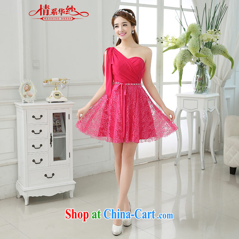 The china yarn 2015 new single shoulder lace summer beauty video skinny dress bridal toast clothing bridesmaid serving the red. size does not accept return