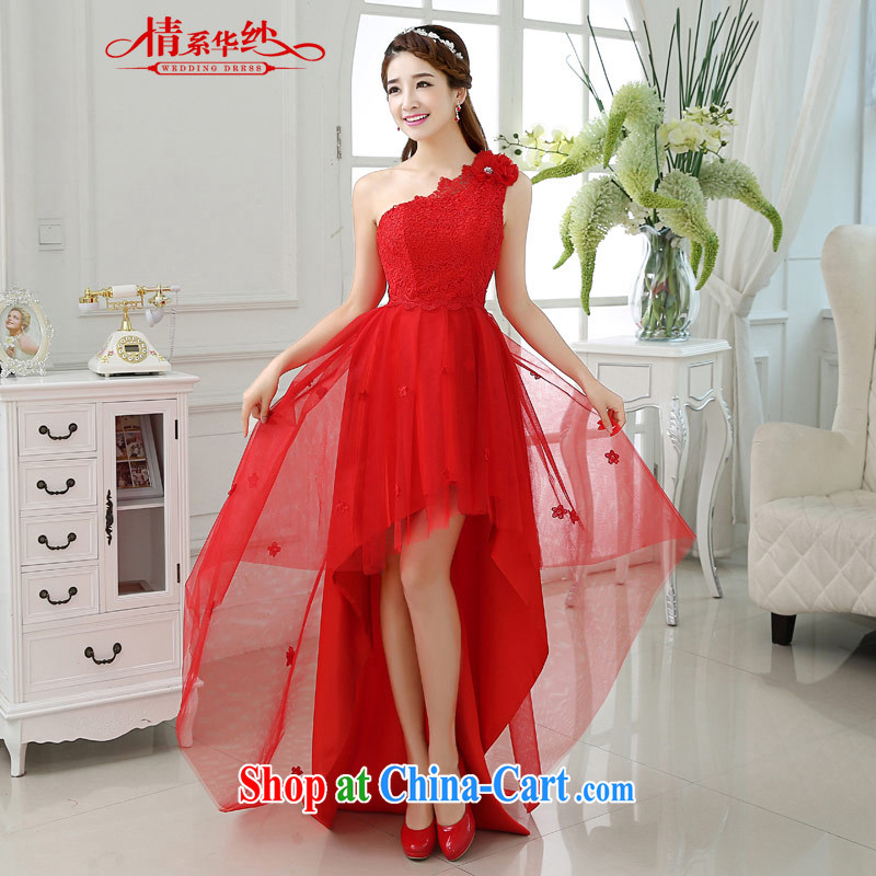 The china yarn 2015 new summer short before long after the shoulder red lace snow woven stitching small dress bride wedding toast clothing Red. size does not accept return