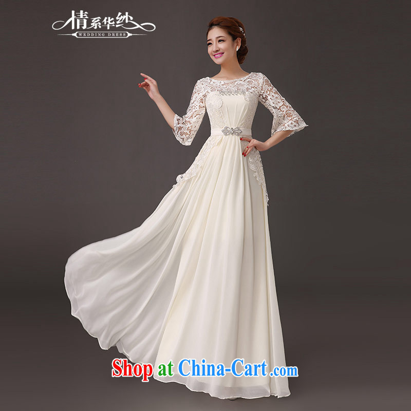 The china yarn 2015 new summer round-collar field shoulder parquet drill long sleeves in marriage dresses bridesmaid clothing dresses champagne color. size does not accept return