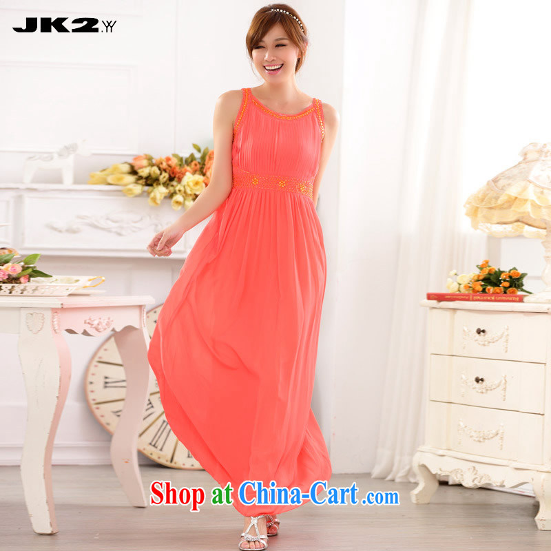 JK 2. YY thick MM XL nails pearl cultivation snow spinning dresses, dinner show the evening dress sleeveless dresses orange XL 135 recommendations about Jack