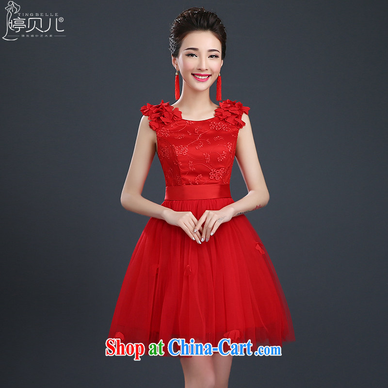 Ting Beverly Evening Dress 2015 new short banquet small dress stylish marriages served toast summer red bridesmaid clothing female Red XL