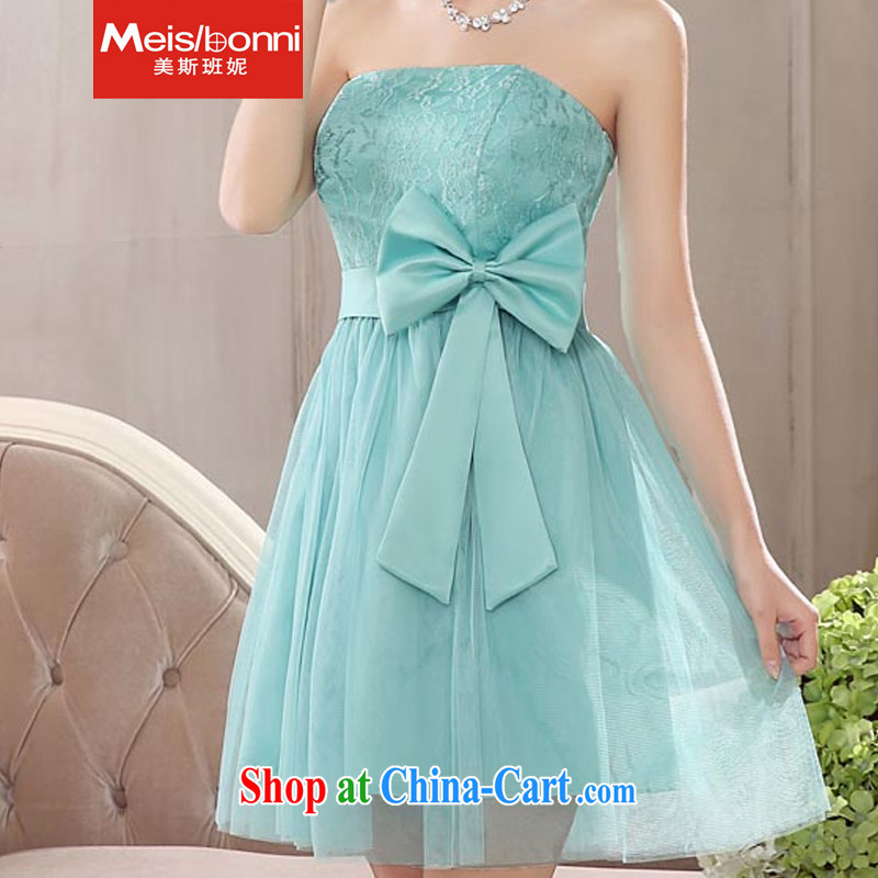 The US, she was short, bare chest bridesmaid mission Small dress sister skirt new 2015 bridal toast clothing evening dress graduation recital 5 CLY candy green XXL