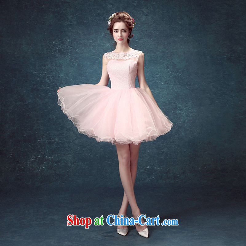 Evening Dress 2015 new summer short banquet dress dress girl bride toast wedding clothes stylish a Field shoulder pink tailored contact Customer Service