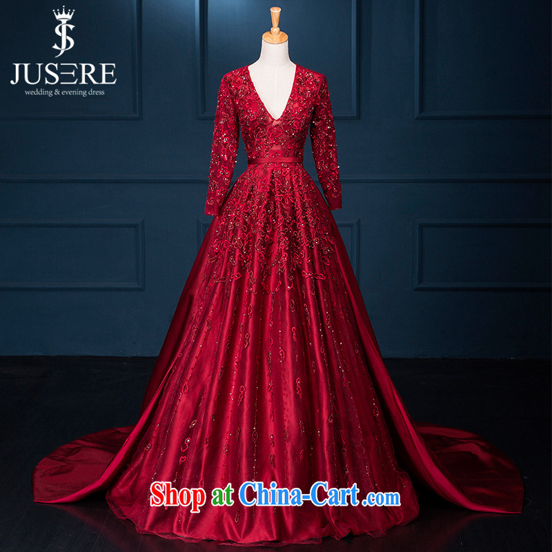 It is not the JUSERE high-end wedding dresses ElieSaab new continental summer damask large V collar wine red marriages served toast red tailored