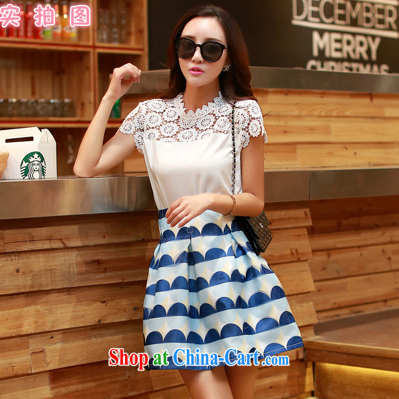 Real-time concept 2015 summer women new Korean Beauty lace stamp two-part kit skirt 5895 white XL
