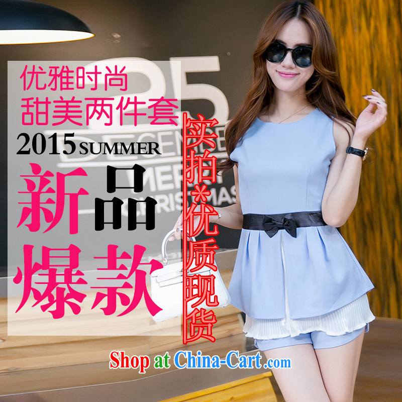 Summer new female snow woven skirt with waist Bow Tie T-shirt shorts set two-piece 6096 pink XXL