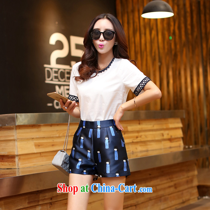 New Korean female graphics thin short-sleeve cotton the stylish lounge suite stamp shorts two piece girls 5893 white XXL
