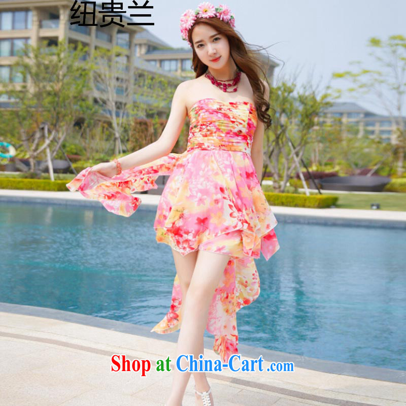 The Newmont, summer 2015 bohemian floral wiped his chest a field for a sleeveless frock dress short skirt Dress Suit 8831 L