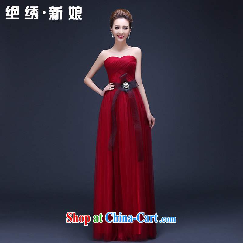2015 new Korean red long marriage toast summer uniforms erase chest graphics thin annual bridal evening dress red set is not returned.