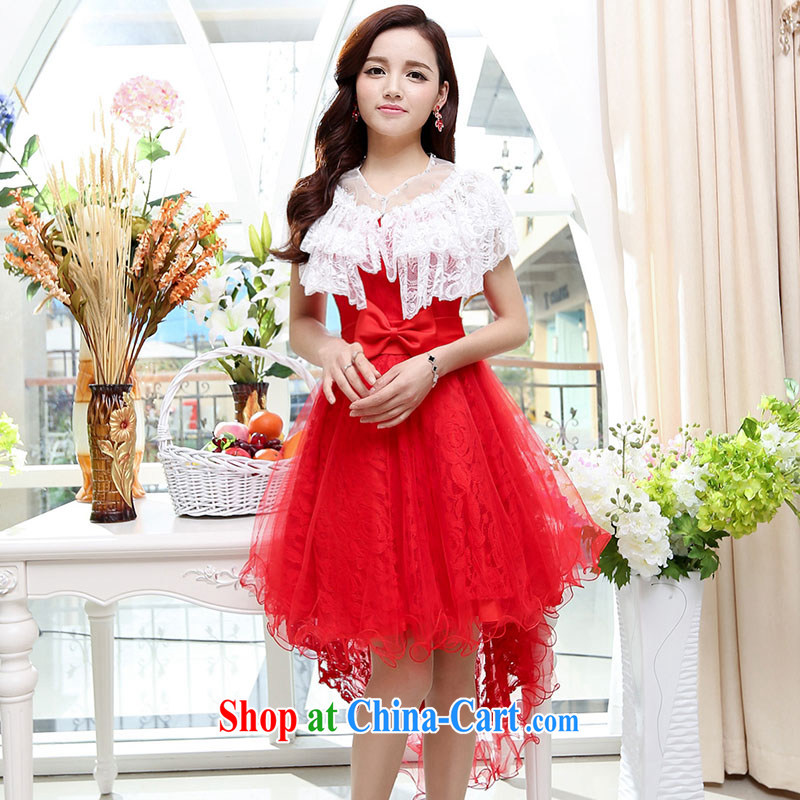 Summer 2015 new stylish sexy bare shoulders the tuxedo, with trend sweet waist Bow Tie Style dress red XL