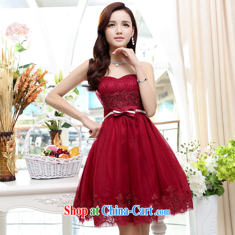 Summer 2015 new stylish fashion sense of your shoulders the waist graphics thin playful short dress dark red XL