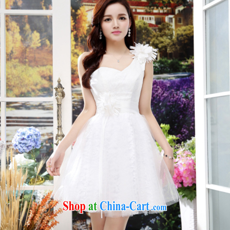 Summer 2015 new trendy single shoulder elegant floral beauty-waist unique floral short dress white