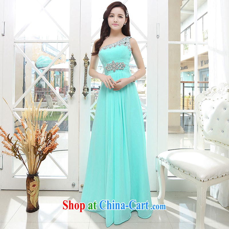 Summer 2015 new stylish waist-long beauty trend, glittering water drilling waist accents dress light blue XL