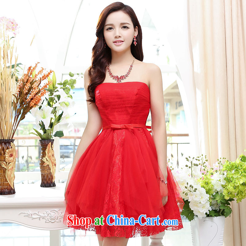 Summer 2015 new trendy terrace shoulder-high quality fabrics and comfortable short Evening Dress red XL