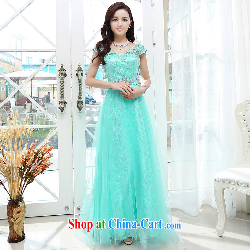 Summer 2015 new stylish and trendy, decorated with floral accents long elegance dress blue XL