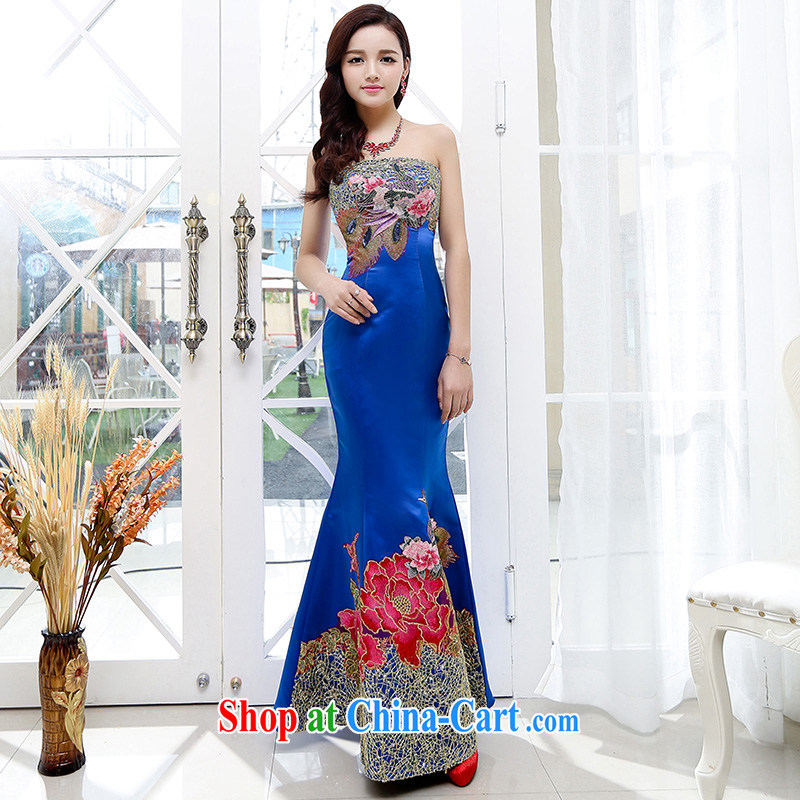 In particular Van Gogh Anne summer 2015 new trendy Phoenix fine embroidery and feel your shoulders long, elegant dress blue XL