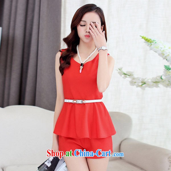 Summer new female Kit stylish Korean version of Yuan Hong Kong small wind short-sleeved snow woven shirts shorts two 2532 #red XL