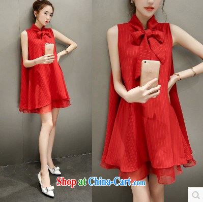 Summer 2015 new European root yarn bow-tie snow woven dresses Korean female liberal A Field skirt 1236 red XL