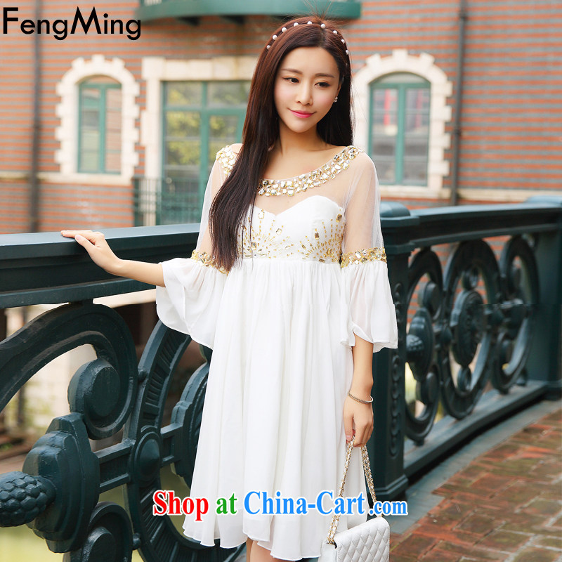 Abundant Ming summer 2015 new luxury to the staple Pearl dress dress gold water drilling flouncing cuff large dresses dress goddess white L