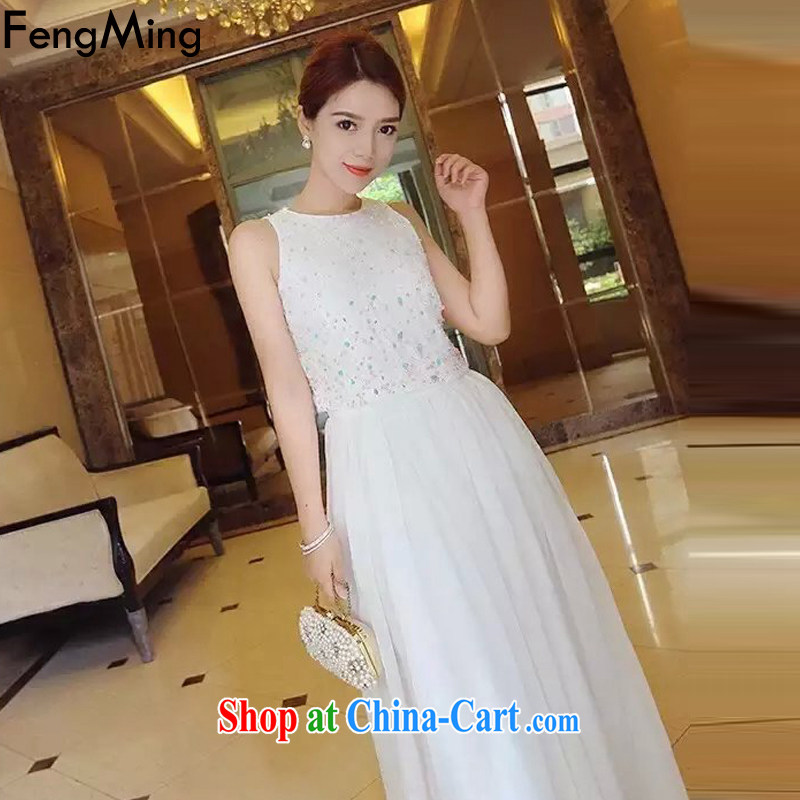 Abundant Ming summer 2015 and pearl staple romantic full drill vest dresses fairy long skirt luxury of Yuan dress skirt white M
