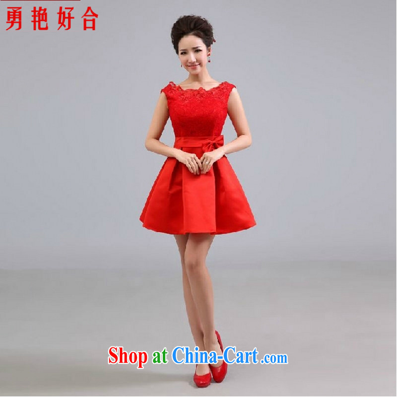 Yong-yan and wedding dresses new 2015 short bridal toast clothing bridesmaid gathering service adult dress Red Red. size color will not be returned.