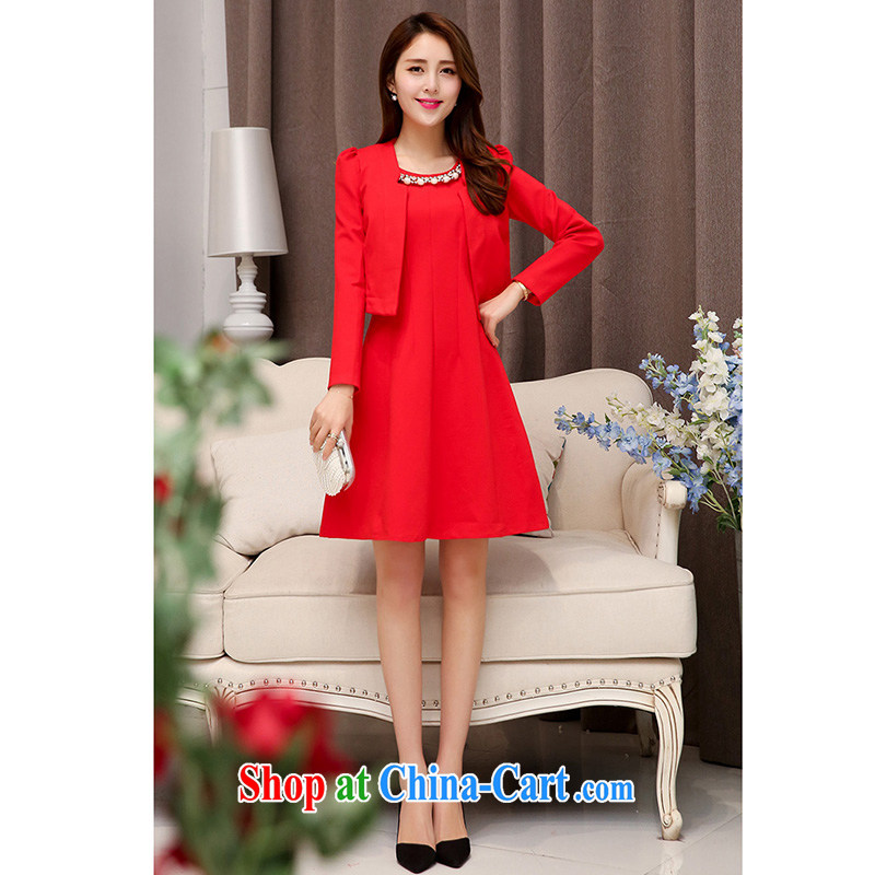 Autumn 2015 new Web yarn two-piece Princess skirt bridesmaid bride's name yuan style dress cardigan dresses Red. XXL