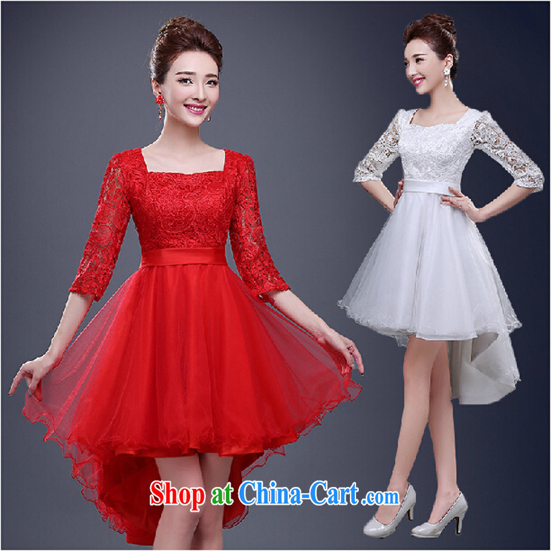 Pure bamboo love yarn bows service 2015 new summer field shoulder marriages the code dress red bridesmaid service banquet short red tailored contact Customer Service
