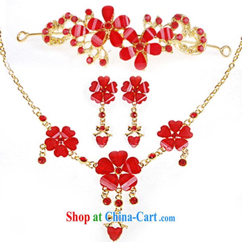 2015 new bridal jewelry Korean-style wedding accessories crown-decorated Wedding water diamond necklace 3 piece kit, red bridal jewelry red