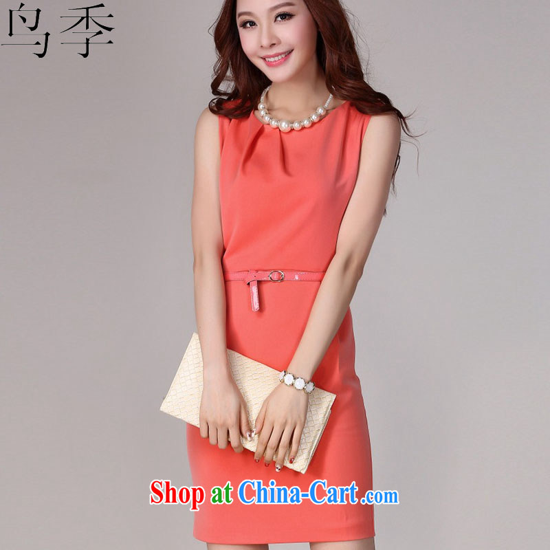 Bird season summer 2015 new dress sleeveless Beauty Professional snow woven dresses package and Aura video thin solid dress in dress skirt L 1010 orange XL