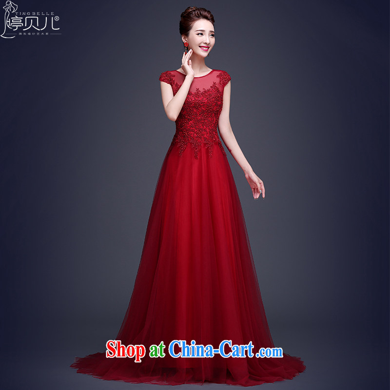 Ting Beverly long, dark red evening dress 2015 new bride toast clothing lace summer shoulders tail wedding dress video thin dark red XL