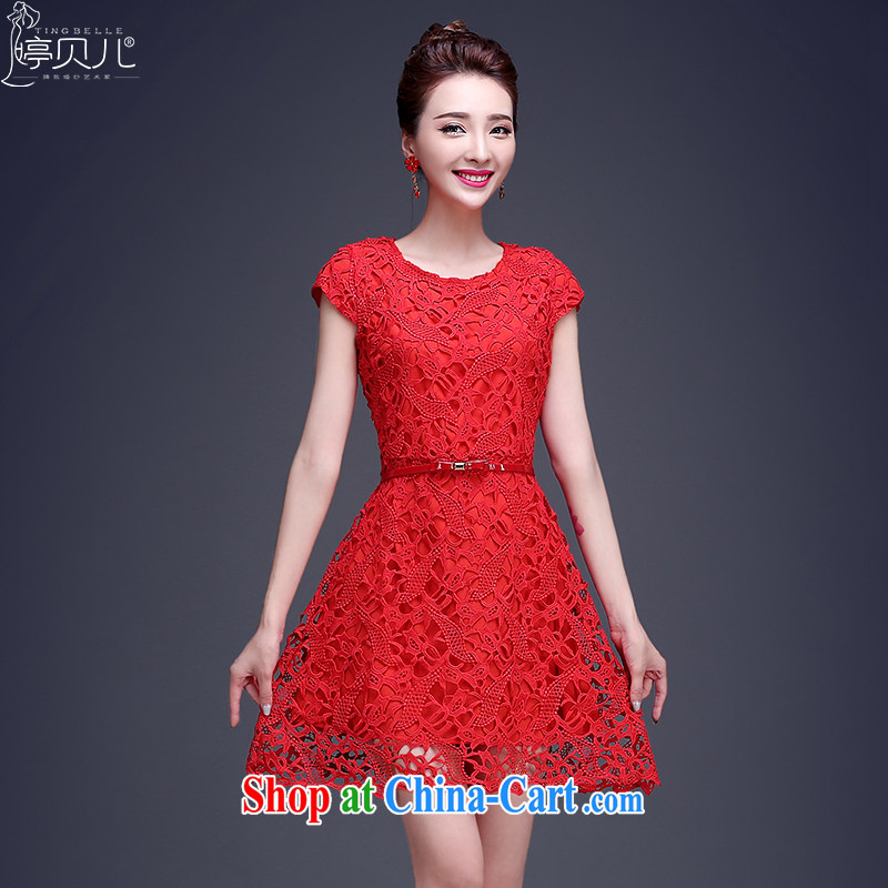 Ting Beverly served toast bride summer 2015 New Red lace wedding dress short, small wedding dress dresses beauty red XL