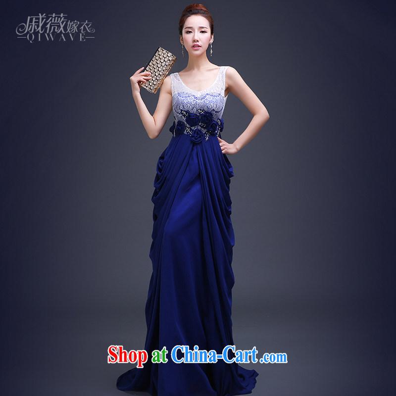 Qi wei summer 2015 new Korean fashion beauty dress long blue zipper, elegant evening dress girl blue custom plus $30
