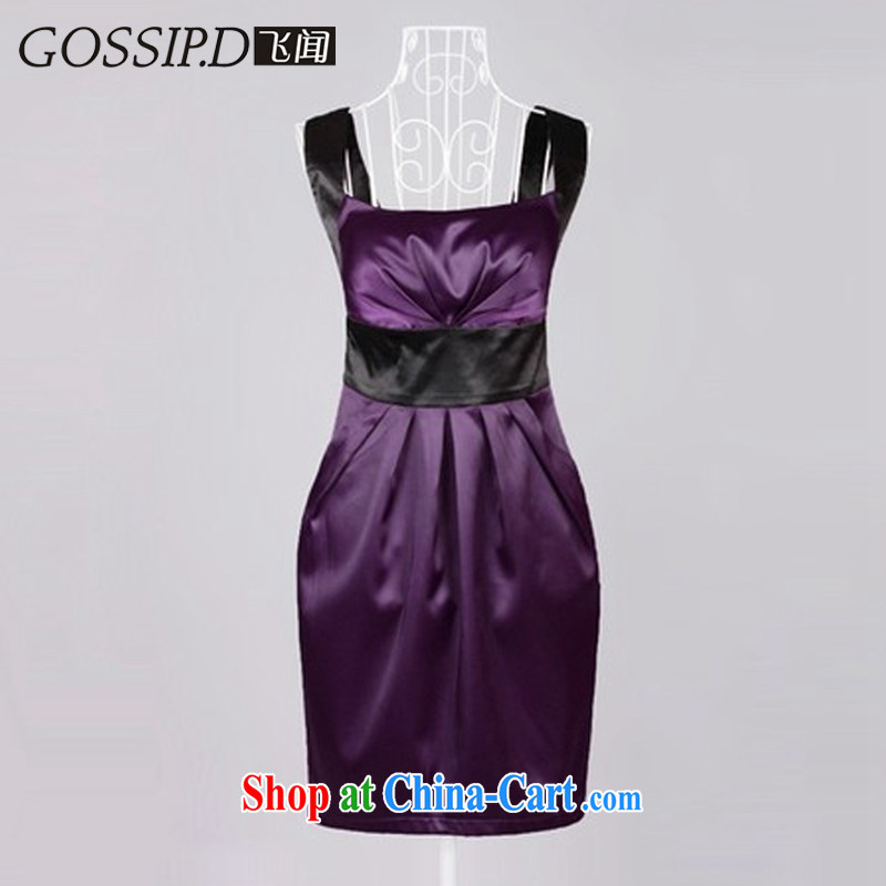 GOSSIP . D fly heard in Europe and America 2015 beauty dress dress Evening Dress short video thin elegant stamp evening dress style 1025 deep purple/black L